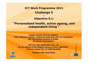 Personalised health, active ageing, and independent living - RTD