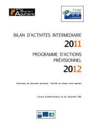 bilan d'activites intermediaire programme d'actions prévisionnel