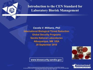 Introduction to the CEN Standard for Laboratory Biorisk Management