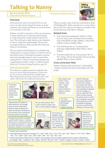 Teacher support material for Talking to Nanny (PDF ... - Literacy Online