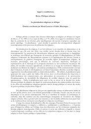 La pluralisation religieuse en Afrique - Politique Africaine