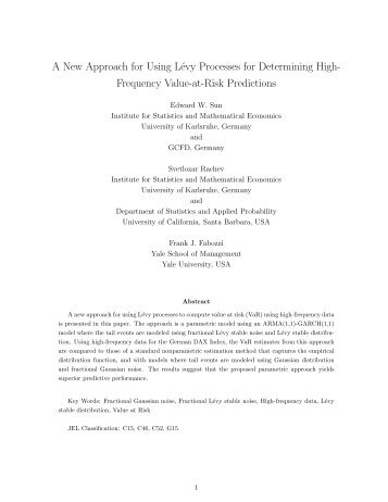 A New Approach for Using Lévy Processes for Determining High ...