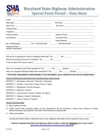Signature Sheet - Maryland State Highway Administration