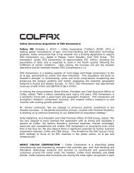 Colfax Announces Acquisition of ČKD Kompresory - Howden