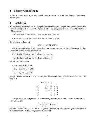 4 Lineare Optimierung - Lehrstuhl für Effiziente Algorithmen