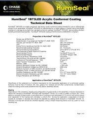 HumiSeal® 1B73LED Acrylic Conformal Coating Technical Data ...