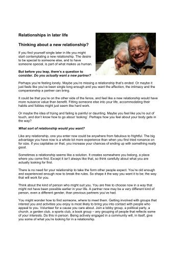Relationships in later life Thinking about a new relationship?