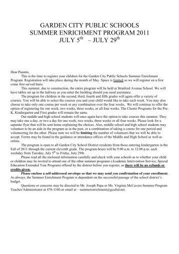 garden city public schools summer enrichment program 2011 july 5