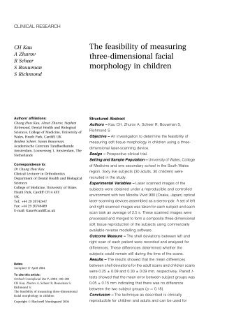 The feasibility of measuring three-dimensional facial morphology in ...