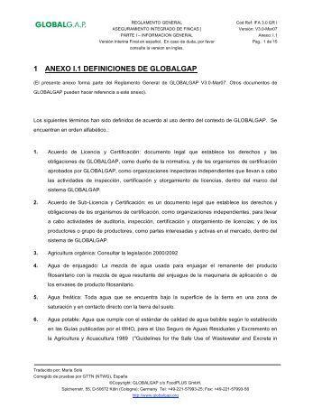 1 ANEXO I.1 DEFINICIONES DE GLOBALGAP - Certifood