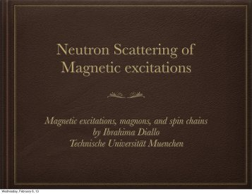 Neutron Scattering of Magnetic excitations - E21