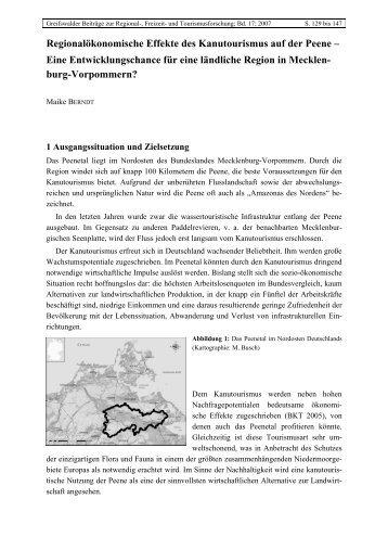 Regionalökonomische Effekte des Kanutourismus auf der Peene ...