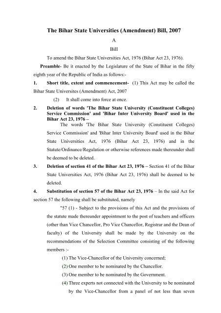The Bihar State Universities (Amendment) Bill, 2007 - Education ...