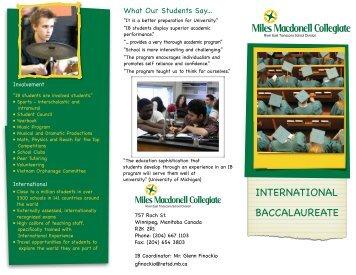 International Baccalaureate Brochure - Retsd.mb.ca
