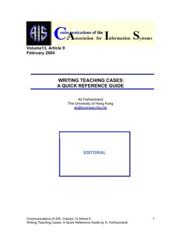 WRITING TEACHING CASES: A QUICK REFERENCE GUIDE
