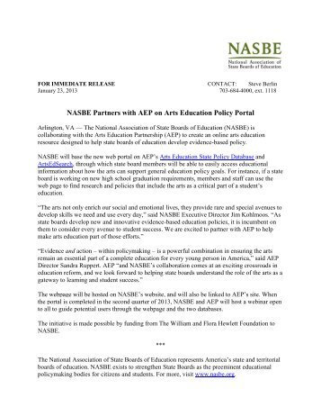 NASBE Partners with AEP on Arts Education Policy Portal