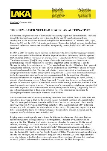 LAKA's Thorium-based Nuclear Power: An Alternative? - Laka.org