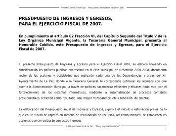PRESUPUESTO DE INGRESOS Y EGRESOS, PARA EL ...