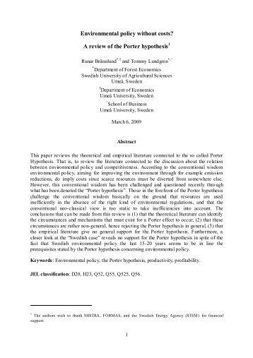 Porterhypotesen och värdet av att gå före i miljöpolitiken: Teori och ...