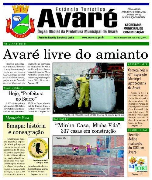 Avaré livre do amianto - Câmara Municipal de Avaré - Governo do ...