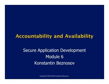 Accountability and Availability - LERSSE