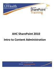 Introduction to SharePoint 2010 - Academic Health Center Training