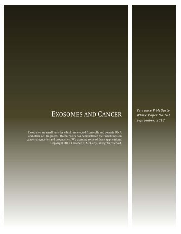 EXOSOMES AND CANCER