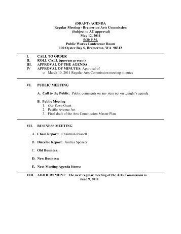 (DRAFT) AGENDA Regular Meeting - Bremerton ... - City of Bremerton