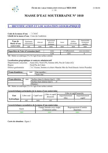 masse d'eau souterraine n° 1010 - Agence de l'eau Artois Picardie