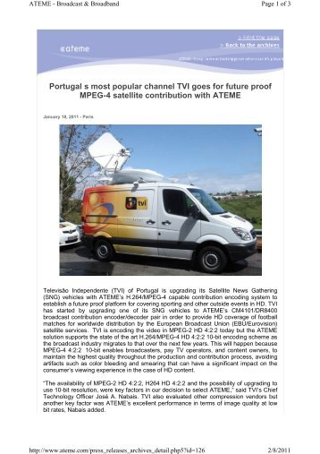 Portugal s most popular channel TVI goes for future proof MPEG-4 ...