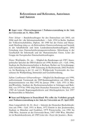 Referentinnen und Referenten, Autorinnen und Autoren - Universität ...