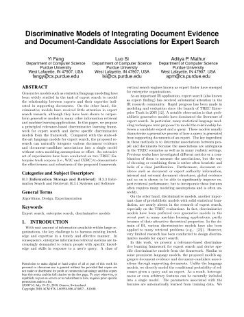 Discriminative Models of Integrating Document Evidence and ...