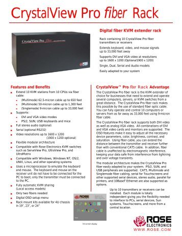 CrystalView Pro Fiber Rack Datasheet - Rose Electronics