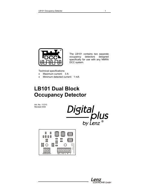 LB101 Dual Block Occupancy Detector - Lenz USA