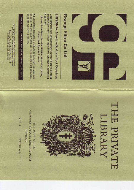 Vol 8 Number 1 - The Private Libraries Association