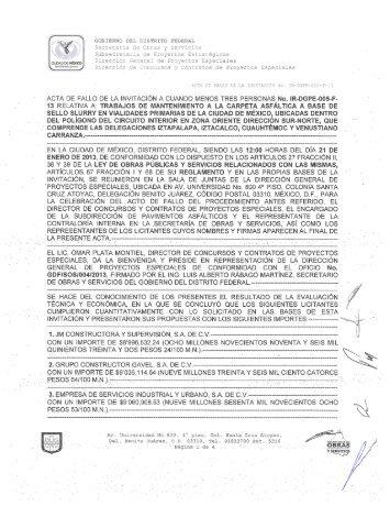ACTA DE FALLO DE LA INVITACIÓN A CUANDO MENOS TRES ...