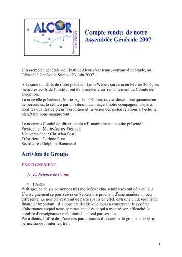 Compte rendu de notre Assemblée Générale 2007 - Institut Alcor