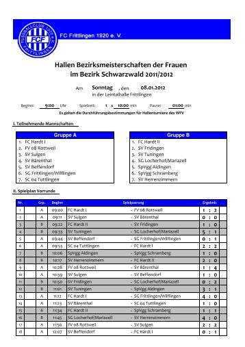 im Bezirk Schwarzwald 2011/2012 - FC Frittlingen