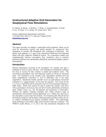 Unstructured Adaptive Grid Generation for Geophysical ... - CAMP