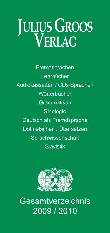 Gesamtverzeichnis 2009 / 2010 - Stauffenburg Verlag