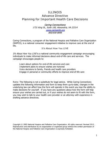 ILLINOIS Advance Directive Planning for Important Health Care ...