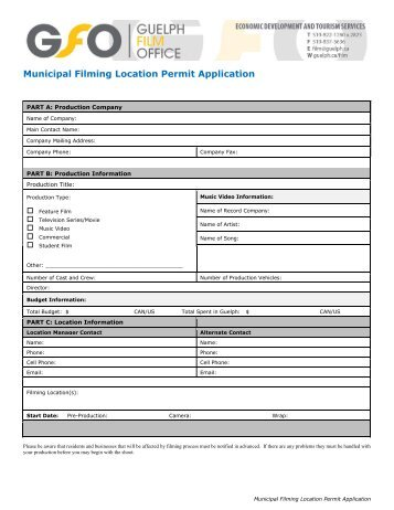 Filming Permit Application Form - City of Guelph