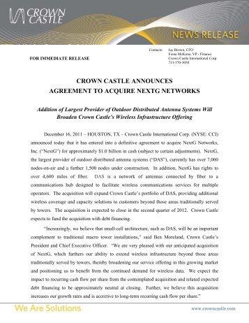 crown castle announces agreement to acquire nextg networks