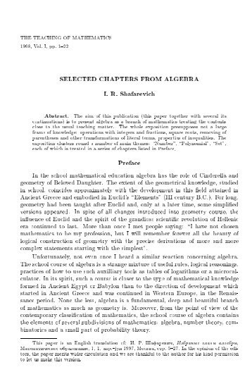 SELECTED CHAPTERS FROM ALGEBRA I. R. Shafarevich Preface