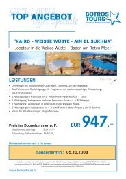 SPECIAL OFFER Offre Spéciale TOP ANGEBOT - Botros Tours GmbH