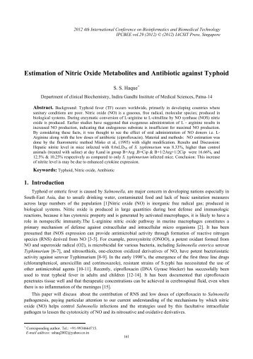 Estimation of Nitric Oxide Metabolites and Antibiotic against ... - ipcbee