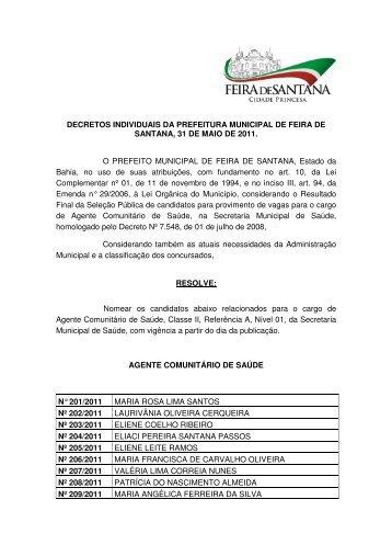 decretos individuais da prefeitura municipal de feira de santana, 31 ...