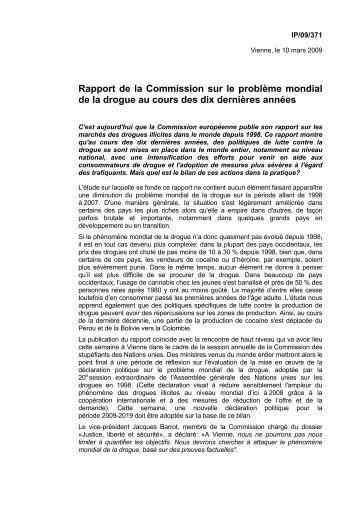 Rapport de la Commission sur le problème mondial ... - Carlos Coelho