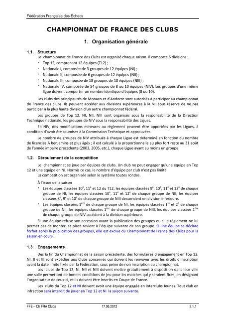 Règlement Championnat de France des clubs - Fédération ...