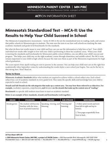 Minnesota's Standardized Test – MCA-II: Use the ... - PACER Center